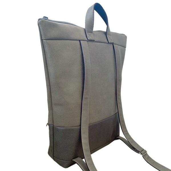 Nachhaltiger Rucksack Grautöne von hinten