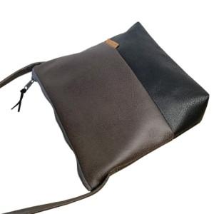 Umhängetasche Schwarz und Dunkelgrau aus Leder Faserstoff Detailansicht