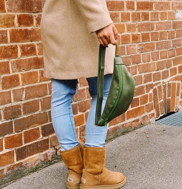 Hängend gehalten Guerteltasche Leder Faserstoff Bowleanies Khaki |Olivgrün