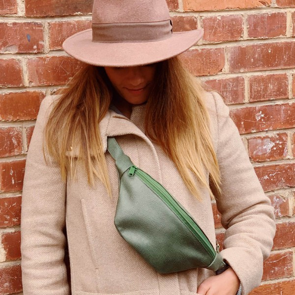 Crossbody getragen Guerteltasche Leder Faserstoff Bowleanies Khaki |Olivgrün