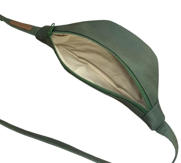 Offene Detailansicht Guerteltasche Leder Faserstoff Bowleanies Khaki |Olivgrün