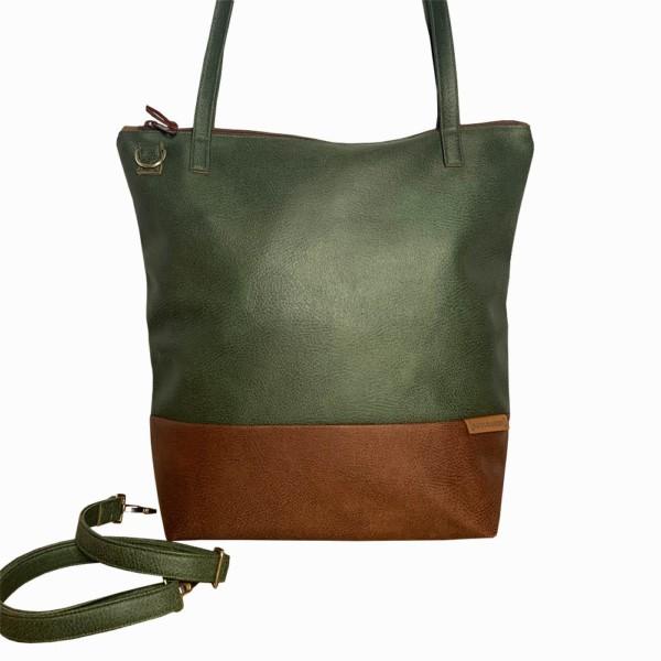 Frontalansicht Shopper Umhängetasche Schultertasche Leder Faserstoff Khaki Braun mit Reißverschluss