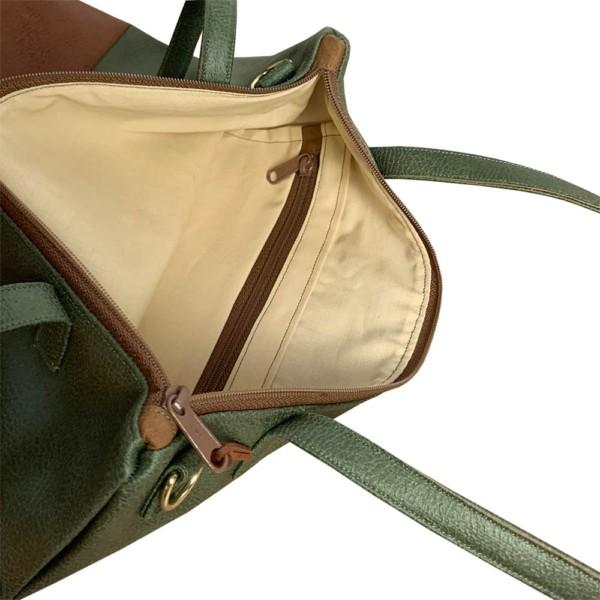 Innenansicht Shopper Umhängetasche Schultertasche Leder Faserstoff Khaki Braun mit Reißverschluss
