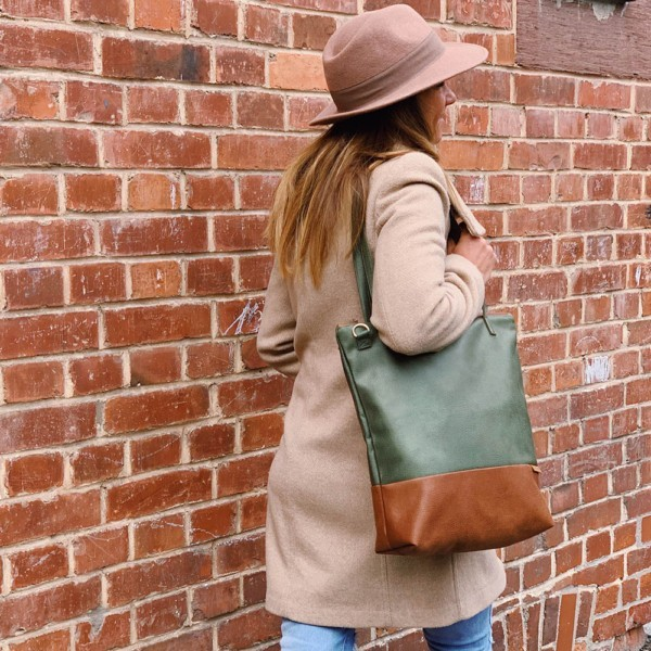 Shopper Umhängetasche Schultertasche Leder Faserstoff Khaki Braun mit Reißverschluss