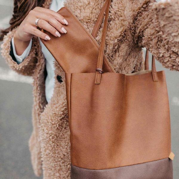 Shopper Braun und Dunkelbraun Detailaufnahme mit separater Tasche