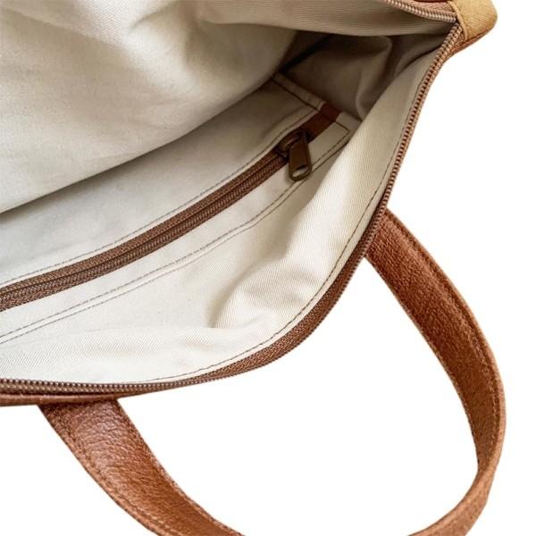 Tagesrucksack Cityrucksack Braun Cognac Leder Faserstoff Fair & Nachhaltig auf weißem Hintergrund Innentasche mit Reißverschluss