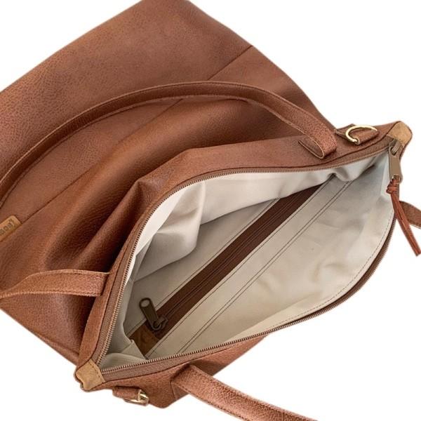 Lederfaserstoff Shopper Braun |Cognac Innenansicht auf weißem Hintergrund